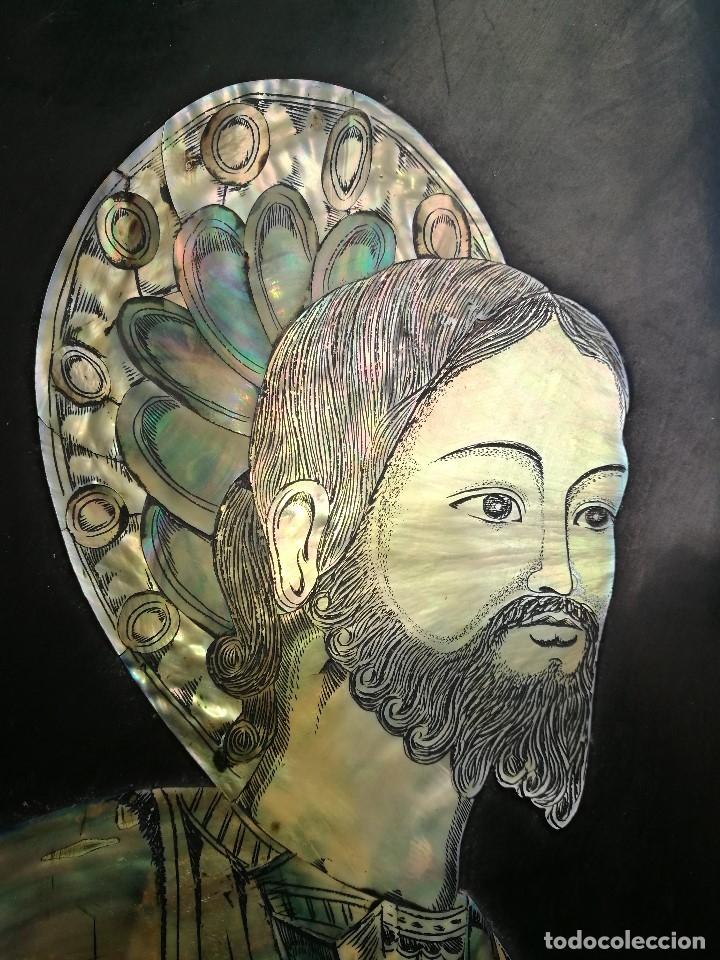 Arte: ICONO RETABLO ENCONCHADO COLONIAL S. XVIII SANTIAGO APOSTOL-LACADO Y MADREPERLA-NÁCAR-ref-ml - Foto 12 - 145881722