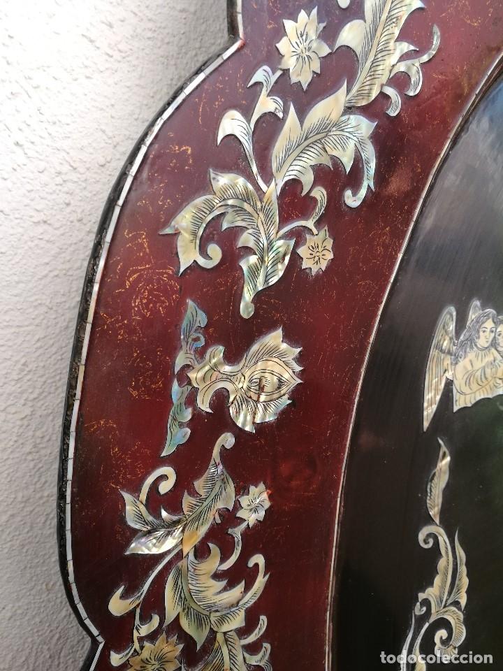 Arte: ICONO RETABLO ENCONCHADO COLONIAL S. XVIII SANTIAGO APOSTOL-LACADO Y MADREPERLA-NÁCAR-ref-ml - Foto 16 - 145881722