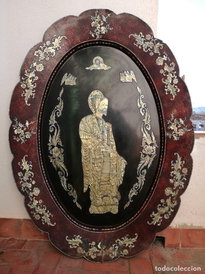Arte: ICONO RETABLO ENCONCHADO COLONIAL S. XVIII SANTIAGO APOSTOL-LACADO Y MADREPERLA-NÁCAR-ref-ml - Foto 18 - 145881722
