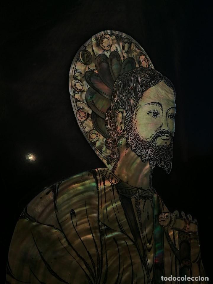 Arte: ICONO RETABLO ENCONCHADO COLONIAL S. XVIII SANTIAGO APOSTOL-LACADO Y MADREPERLA-NÁCAR-ref-ml - Foto 23 - 145881722