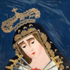 Arte: VIRGEN DOLOROSA PINTADA BAJO CRISTAL. SIGLO XIX. GRAN BELLEZA.. Lote 178355910