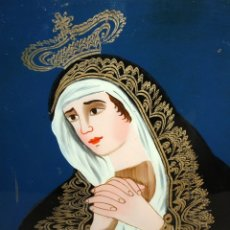 Arte: CRISTAL PINTADO DE TEMA RELIGIOSO (VIRGEN) ARTE POPULAR. SIGLO XIX. 48CM. X 39 CM.. Lote 145833614