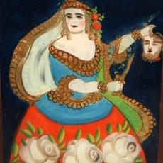 Arte: CRISTAL-`PINTADO-JUDITH Y HOLOFERNES-SG XIX-DE COLECCIÓN.. Lote 146037282