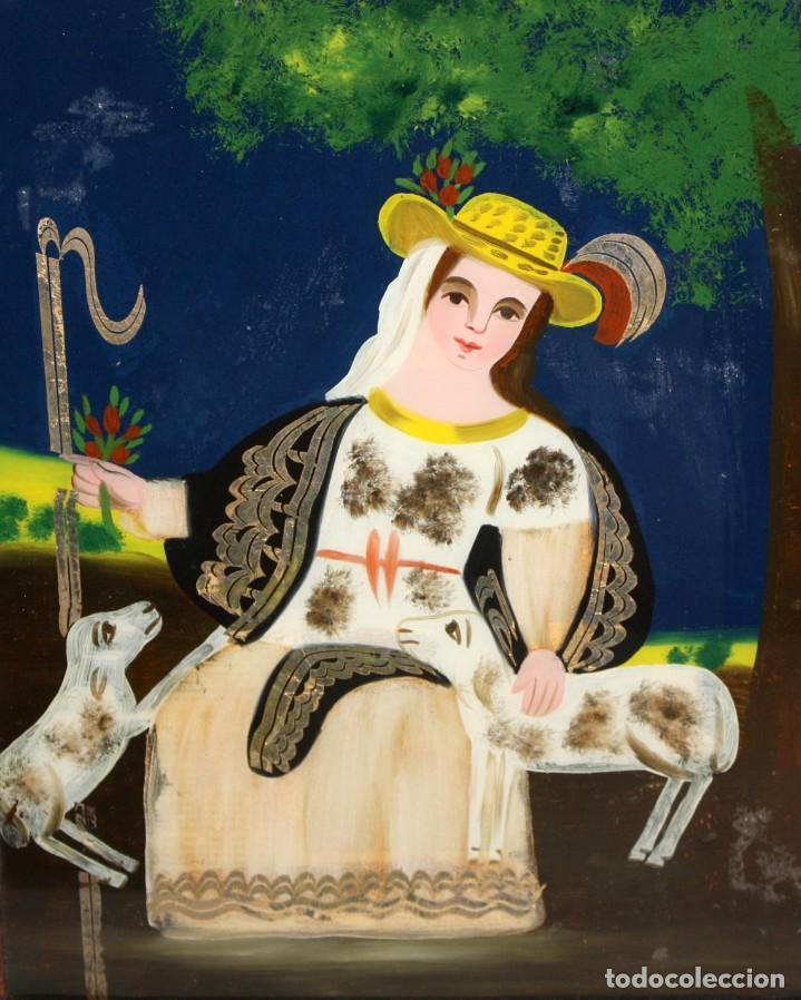 DIVINA PASTORA CON 2 CORDERITOS-CRISTAL PINTADO-DE COLECCIÓN. (Arte - Arte Religioso - Pintura Religiosa - Otros)