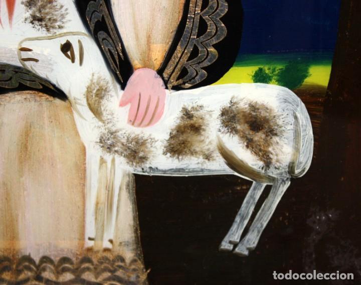 Arte: DIVINA PASTORA CON 2 CORDERITOS-CRISTAL PINTADO-DE COLECCIÓN. - Foto 7 - 146040986