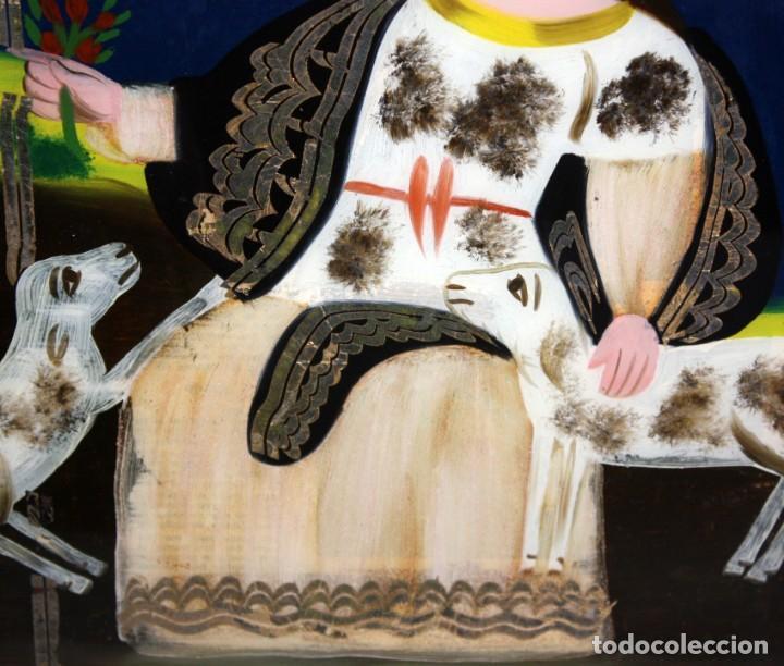 Arte: DIVINA PASTORA CON 2 CORDERITOS-CRISTAL PINTADO-DE COLECCIÓN. - Foto 4 - 146040986