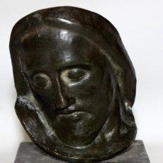 Arte: VICENTE ANTON PUIG (BENIARJÓ, 1893 – BARCELONA, 1964) ESCULTURA EN BRONCE FIRMADA. ROSTRO DE JESUS. Lote 146098878