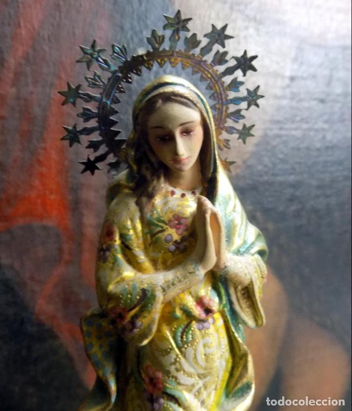 PRECIOSA VIRGEN , PRINCIPIOS SIGLO XX, POLICROMADA,TALLA MADERA, ESTILO BARROCO, VER FOTOS (Arte - Arte Religioso - Escultura)