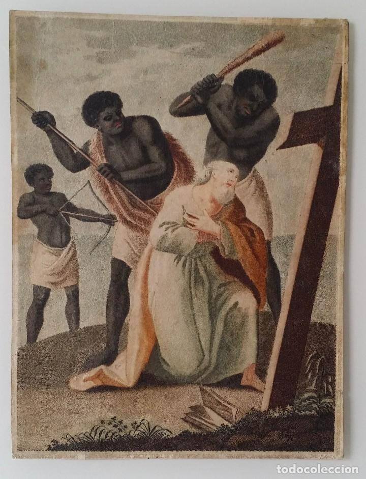 SAN PEDRO, MARTIRIO, AGUAFUERTE COLOREADO A MANO, SIGLO XVIII (Arte - Arte Religioso - Grabados)