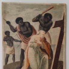 Arte: SAN PEDRO, MARTIRIO, AGUAFUERTE COLOREADO A MANO, SIGLO XVIII. Lote 146213286