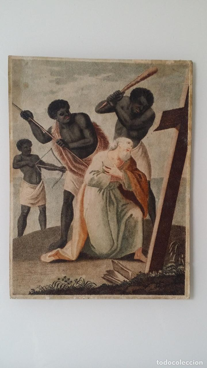 Arte: San Pedro, martirio, aguafuerte coloreado a mano, siglo XVIII - Foto 2 - 146213286