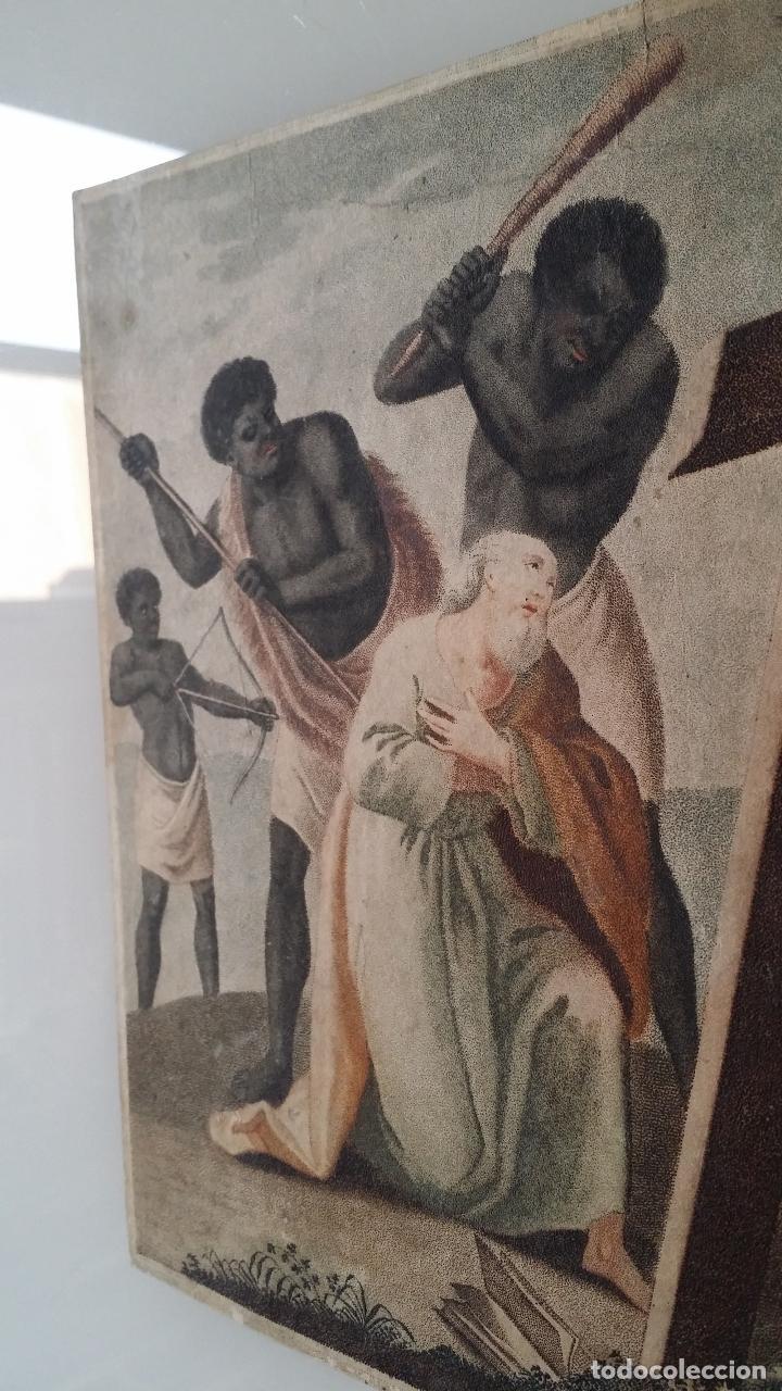 Arte: San Pedro, martirio, aguafuerte coloreado a mano, siglo XVIII - Foto 7 - 146213286