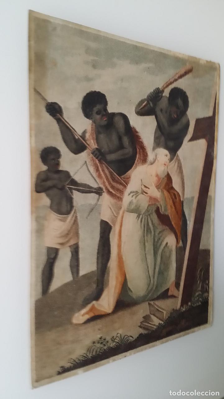 Arte: San Pedro, martirio, aguafuerte coloreado a mano, siglo XVIII - Foto 8 - 146213286