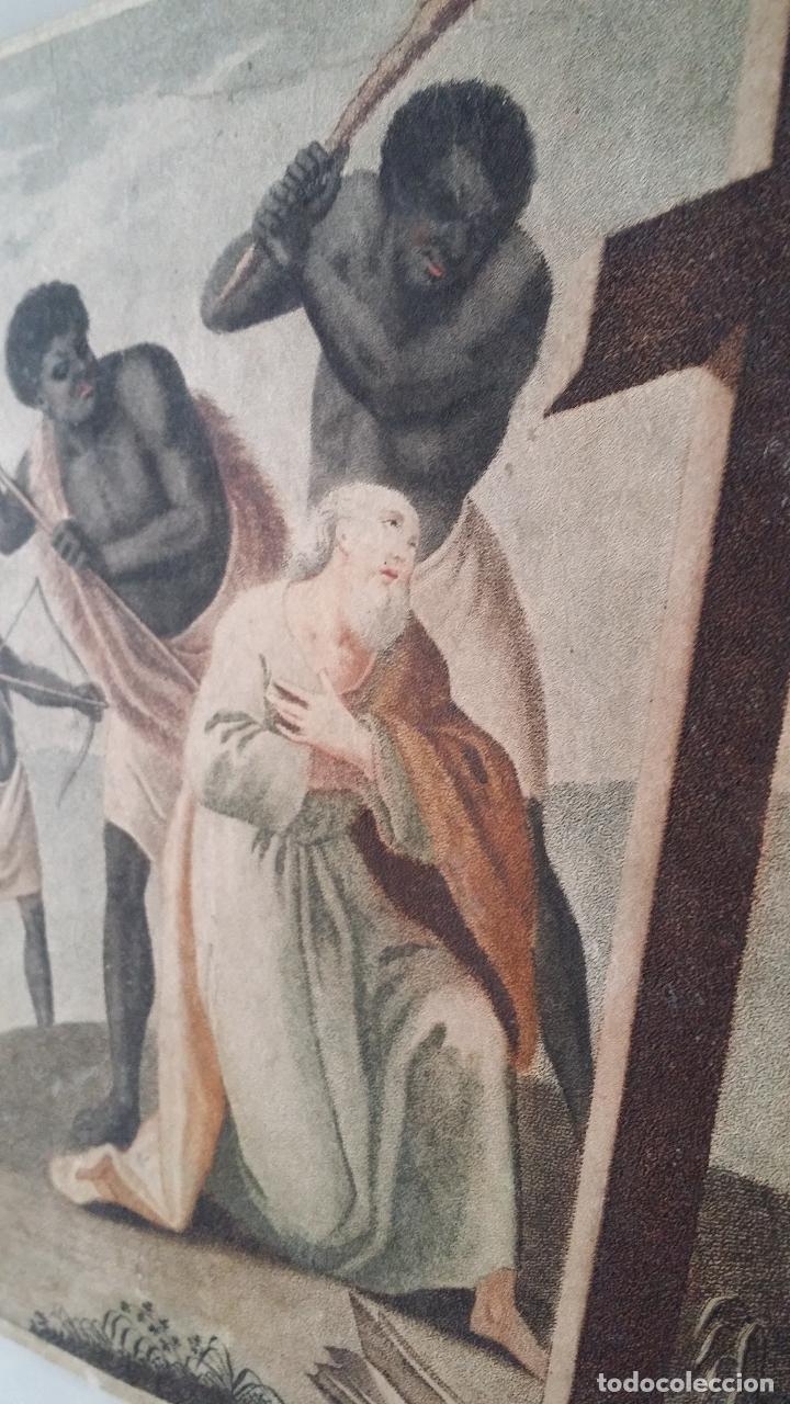 Arte: San Pedro, martirio, aguafuerte coloreado a mano, siglo XVIII - Foto 11 - 146213286