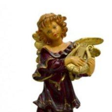 Arte: PRECIOSA FIGURA DE ANGEL QUERUBIN TOCANDO EL ARPA BELLOS COLORES ESTILO ANTIGUO.TIPO ITALIANO.. Lote 146239538