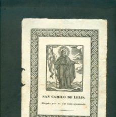 Arte: SAN CAMILO DE LELIS GRABADO A LA MADERA ORIGINAL PRINCIPIOS SXIX. Lote 146254758