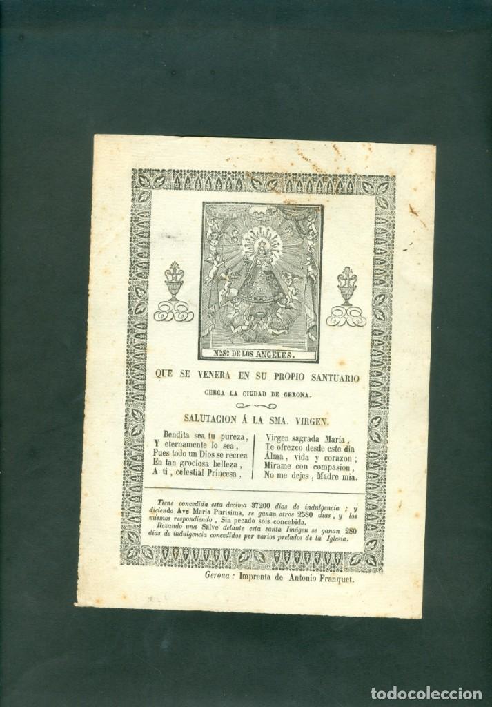 NUESTRA SEÑORA DE LOS ANGELES GRABADO A LA MADERA ORIGINAL PRINCIPIOS SXIX (Arte - Arte Religioso - Grabados)