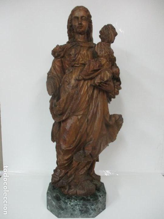 PRECIOSA ESCULTURA BARROCA - SANTA ANA - VIRGEN, TALLA DE MADERA - PEANA DE MÁRMOL - S. XVII (Arte - Arte Religioso - Escultura)