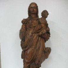 Arte: PRECIOSA ESCULTURA BARROCA - SANTA ANA - VIRGEN, TALLA DE MADERA - PEANA DE MÁRMOL - S. XVII. Lote 146266230