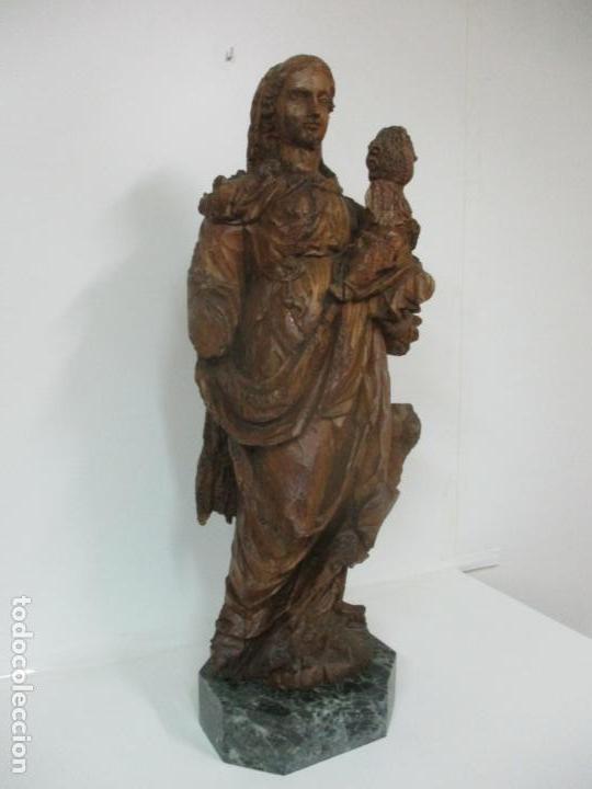 Arte: Preciosa Escultura Barroca - Santa Ana - Virgen, Talla de Madera - Peana de Mármol - S. XVII - Foto 2 - 146266230
