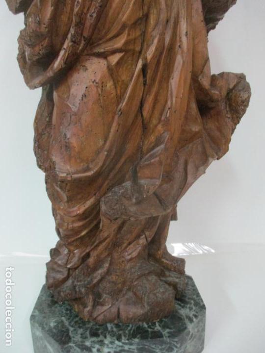 Arte: Preciosa Escultura Barroca - Santa Ana - Virgen, Talla de Madera - Peana de Mármol - S. XVII - Foto 4 - 146266230