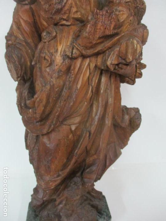 Arte: Preciosa Escultura Barroca - Santa Ana - Virgen, Talla de Madera - Peana de Mármol - S. XVII - Foto 5 - 146266230