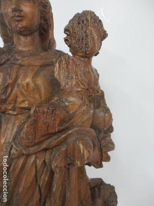 Arte: Preciosa Escultura Barroca - Santa Ana - Virgen, Talla de Madera - Peana de Mármol - S. XVII - Foto 7 - 146266230