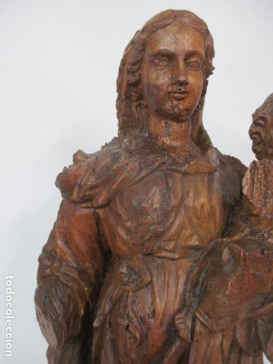 Arte: Preciosa Escultura Barroca - Santa Ana - Virgen, Talla de Madera - Peana de Mármol - S. XVII - Foto 8 - 146266230