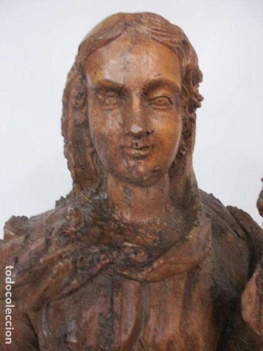 Arte: Preciosa Escultura Barroca - Santa Ana - Virgen, Talla de Madera - Peana de Mármol - S. XVII - Foto 9 - 146266230
