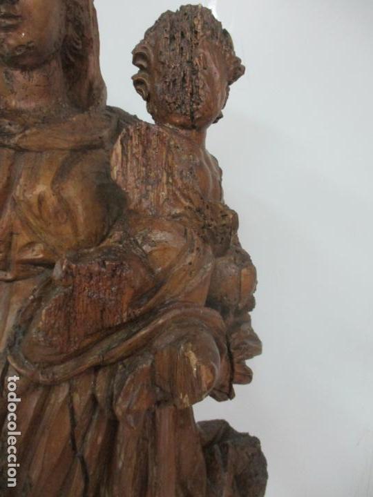 Arte: Preciosa Escultura Barroca - Santa Ana - Virgen, Talla de Madera - Peana de Mármol - S. XVII - Foto 10 - 146266230