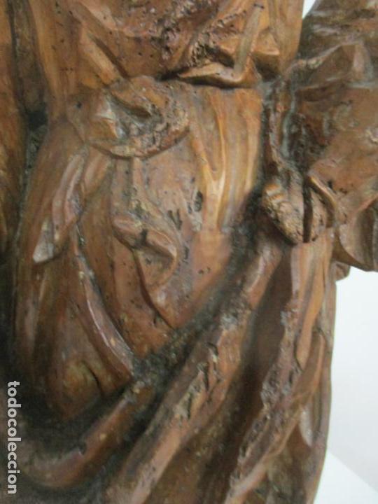 Arte: Preciosa Escultura Barroca - Santa Ana - Virgen, Talla de Madera - Peana de Mármol - S. XVII - Foto 11 - 146266230