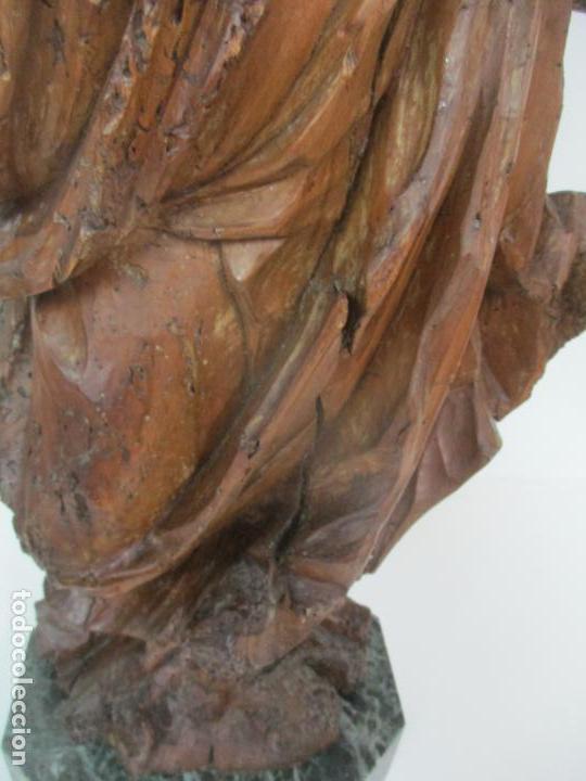 Arte: Preciosa Escultura Barroca - Santa Ana - Virgen, Talla de Madera - Peana de Mármol - S. XVII - Foto 12 - 146266230