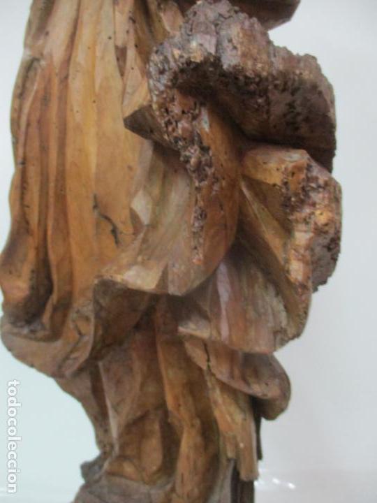 Arte: Preciosa Escultura Barroca - Santa Ana - Virgen, Talla de Madera - Peana de Mármol - S. XVII - Foto 16 - 146266230