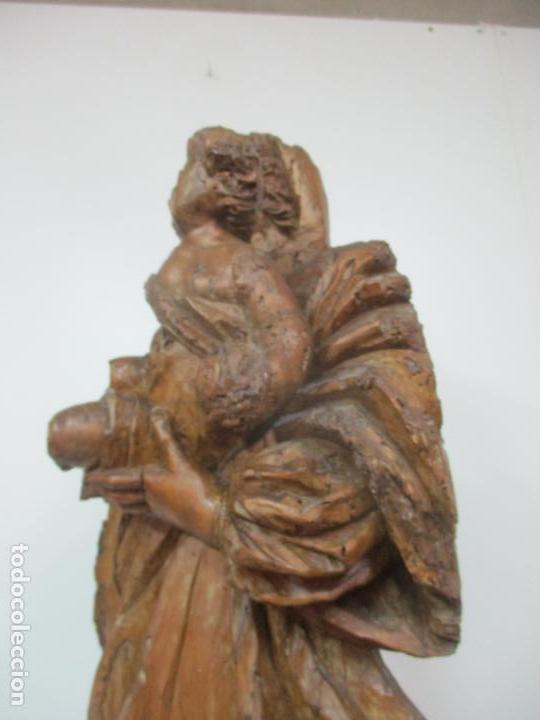 Arte: Preciosa Escultura Barroca - Santa Ana - Virgen, Talla de Madera - Peana de Mármol - S. XVII - Foto 17 - 146266230