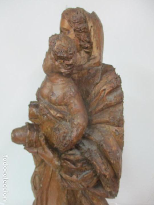 Arte: Preciosa Escultura Barroca - Santa Ana - Virgen, Talla de Madera - Peana de Mármol - S. XVII - Foto 18 - 146266230