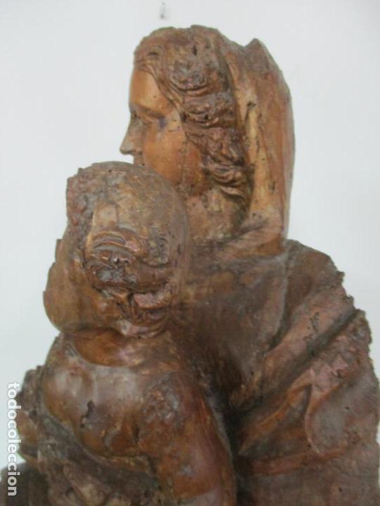 Arte: Preciosa Escultura Barroca - Santa Ana - Virgen, Talla de Madera - Peana de Mármol - S. XVII - Foto 19 - 146266230