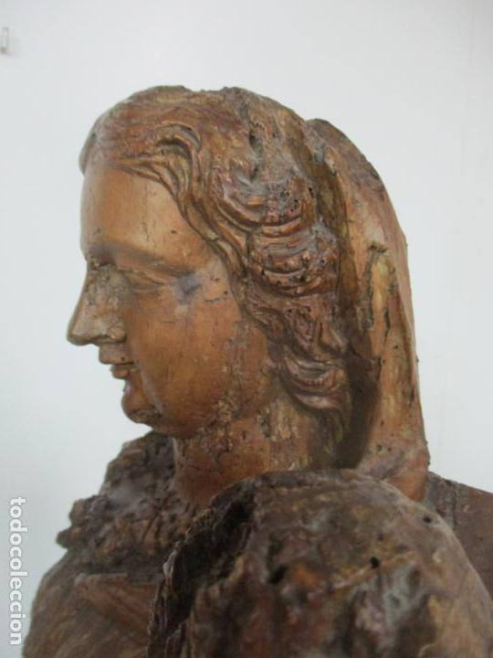 Arte: Preciosa Escultura Barroca - Santa Ana - Virgen, Talla de Madera - Peana de Mármol - S. XVII - Foto 20 - 146266230