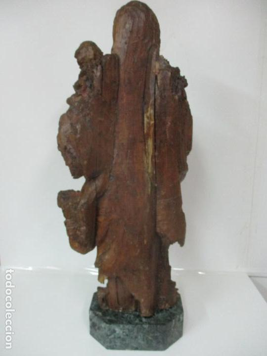 Arte: Preciosa Escultura Barroca - Santa Ana - Virgen, Talla de Madera - Peana de Mármol - S. XVII - Foto 22 - 146266230