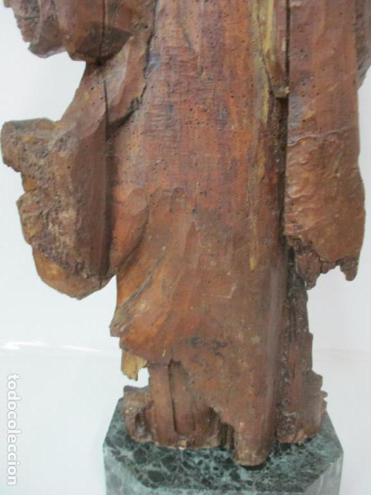 Arte: Preciosa Escultura Barroca - Santa Ana - Virgen, Talla de Madera - Peana de Mármol - S. XVII - Foto 24 - 146266230