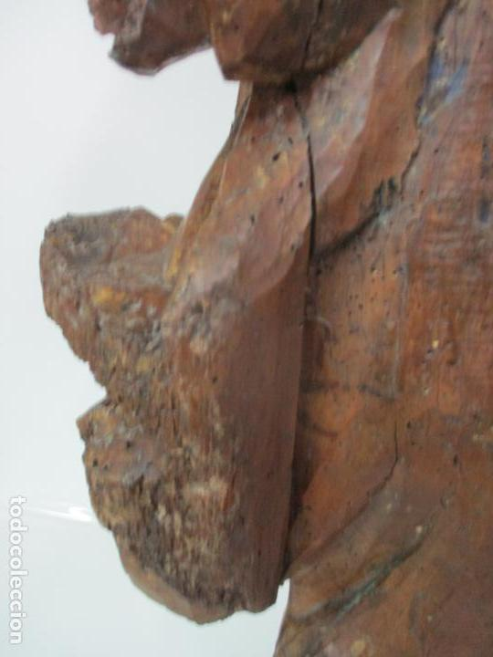 Arte: Preciosa Escultura Barroca - Santa Ana - Virgen, Talla de Madera - Peana de Mármol - S. XVII - Foto 26 - 146266230