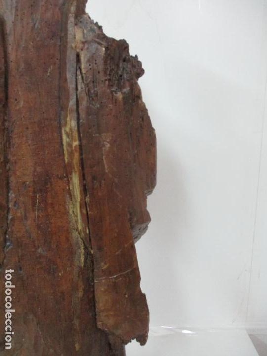 Arte: Preciosa Escultura Barroca - Santa Ana - Virgen, Talla de Madera - Peana de Mármol - S. XVII - Foto 27 - 146266230