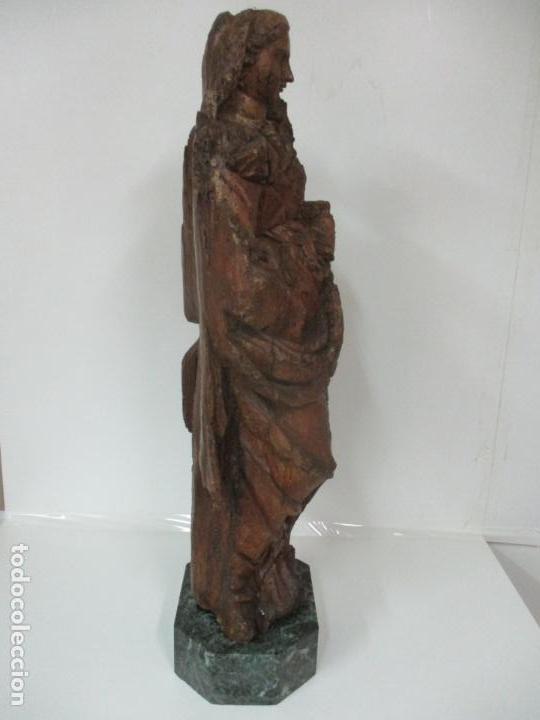 Arte: Preciosa Escultura Barroca - Santa Ana - Virgen, Talla de Madera - Peana de Mármol - S. XVII - Foto 29 - 146266230