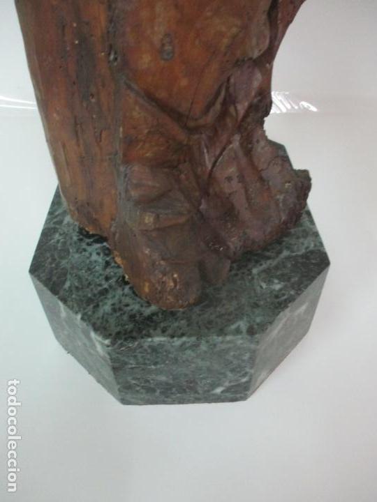 Arte: Preciosa Escultura Barroca - Santa Ana - Virgen, Talla de Madera - Peana de Mármol - S. XVII - Foto 30 - 146266230