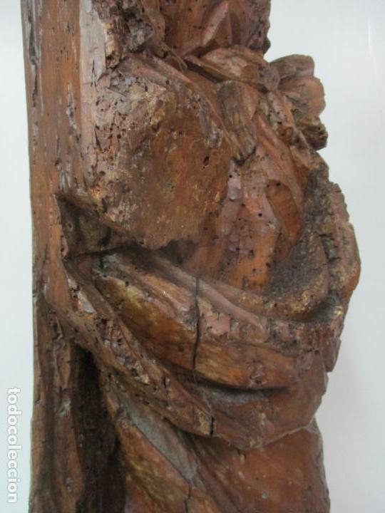 Arte: Preciosa Escultura Barroca - Santa Ana - Virgen, Talla de Madera - Peana de Mármol - S. XVII - Foto 31 - 146266230