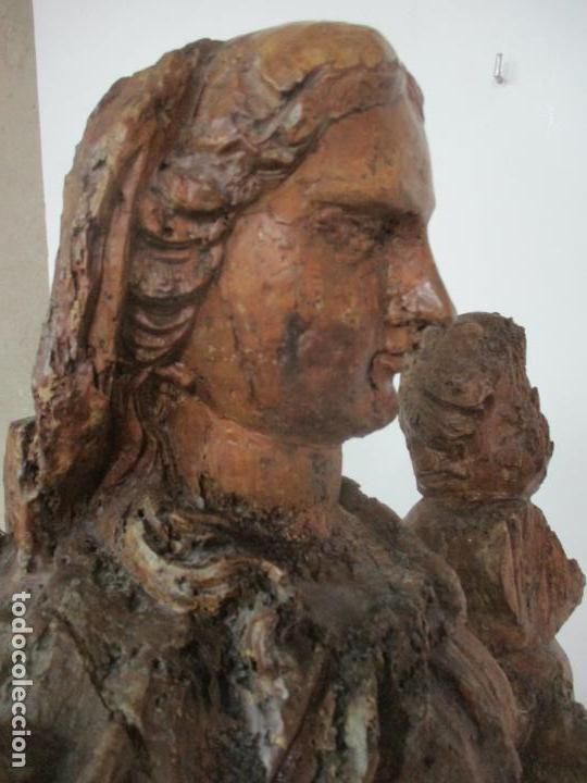 Arte: Preciosa Escultura Barroca - Santa Ana - Virgen, Talla de Madera - Peana de Mármol - S. XVII - Foto 33 - 146266230