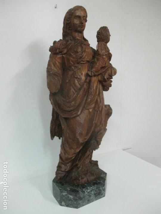 Arte: Preciosa Escultura Barroca - Santa Ana - Virgen, Talla de Madera - Peana de Mármol - S. XVII - Foto 34 - 146266230