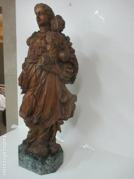 Arte: Preciosa Escultura Barroca - Santa Ana - Virgen, Talla de Madera - Peana de Mármol - S. XVII - Foto 35 - 146266230