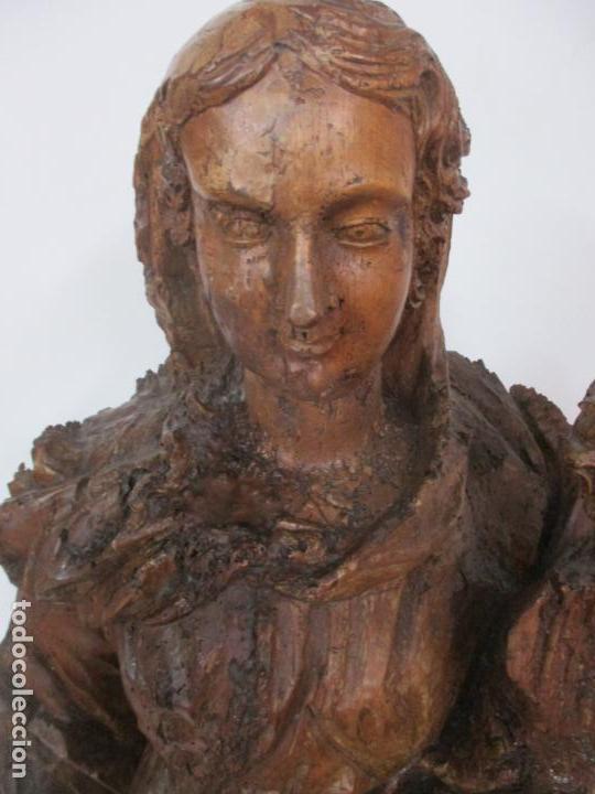 Arte: Preciosa Escultura Barroca - Santa Ana - Virgen, Talla de Madera - Peana de Mármol - S. XVII - Foto 36 - 146266230