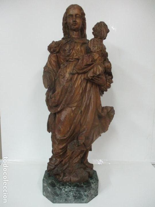 Arte: Preciosa Escultura Barroca - Santa Ana - Virgen, Talla de Madera - Peana de Mármol - S. XVII - Foto 37 - 146266230
