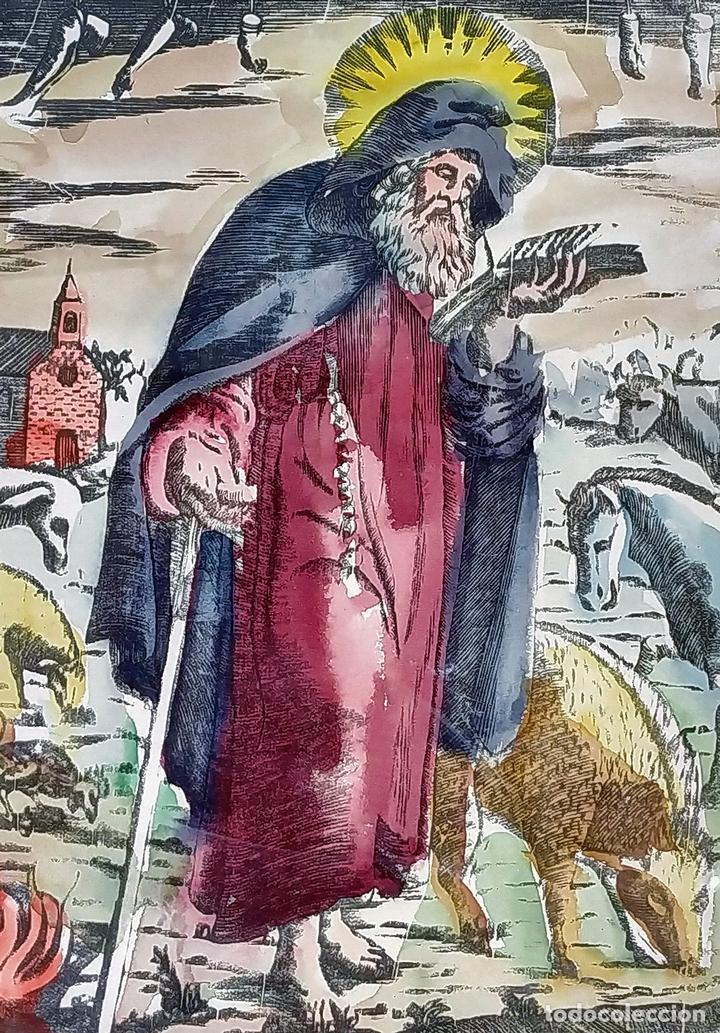 SAN ANTONIO ABAD. GRABADO ENRIQUECIDO A LA ACUARELA. ESPAÑA. SIGLO XIX (Arte - Arte Religioso - Grabados)